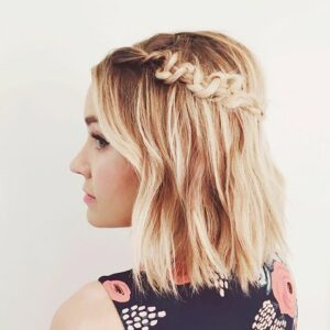 Short hair in stylish braids